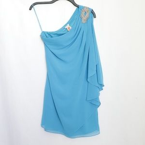 Cache Blue One Shoulder Jeweled Cocktail Dress